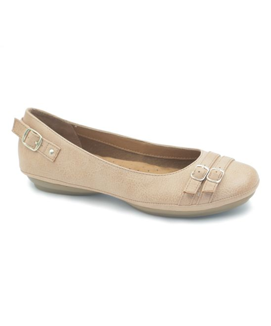 4e3d2f60432be Nude Lena Double-Buckle Flat