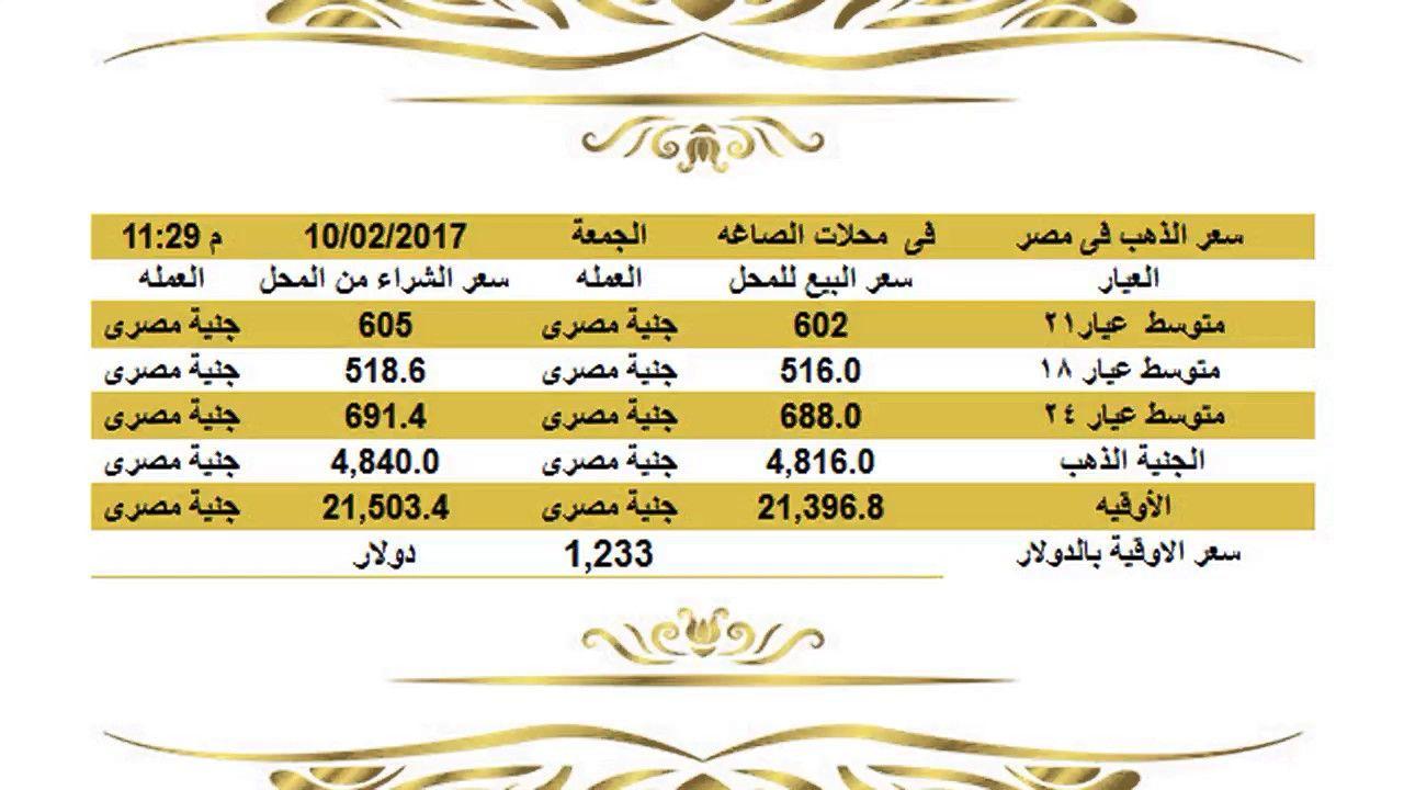 سعرالذهباليومفيمصرالجمعة1022017عيار21وعيار18وعيار24الساعة11 30مساء اسعار الذهب اليوم فى مصر تحديث يومي اسعار الذهب فى مصر اسعار الذهب اليو Gold Rate Jye Gold