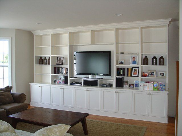 Living room wall entertainment center in white ... LOVE | Home in ...