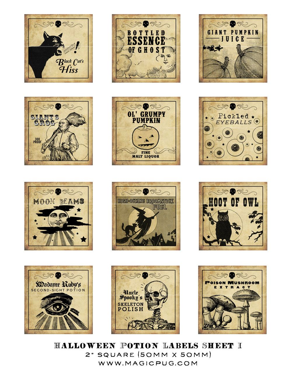 antique halloween potion labels i 2x2 inch digital collage sheet inchies 50mm square witch owl. Black Bedroom Furniture Sets. Home Design Ideas