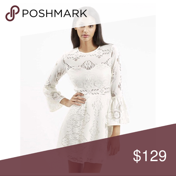 TOPSHOP FLUTED SLEEVE LACE MINI DRESS TOPSHOP FLUTED SLEEVE LACE MINI DRESS  NEW WITHOUT TAGS  SIZE- Tagged size U.S. 6 (approx. size S)  DETAILS: - Hidden back-zip closure - Lined - Fluted sleeves - Fit -and-flare  - Detailed with ornate embroidery - Allover lace   MATERIAL- 100% Polyester COLOR- Ivory  #bohob#summer #romantic #dinner #date Topshop Dresses Mini