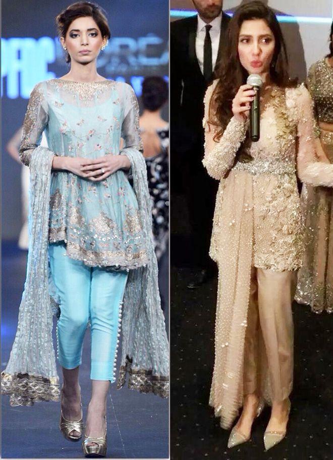 89ac6b62acac Latest Designs Pakistani Fashion Short Frocks With Capris 2017 ...