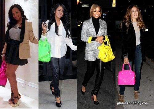 Celebrities And Neon Handbags Bolsa De Neón Traje Todo Trajes S Colores