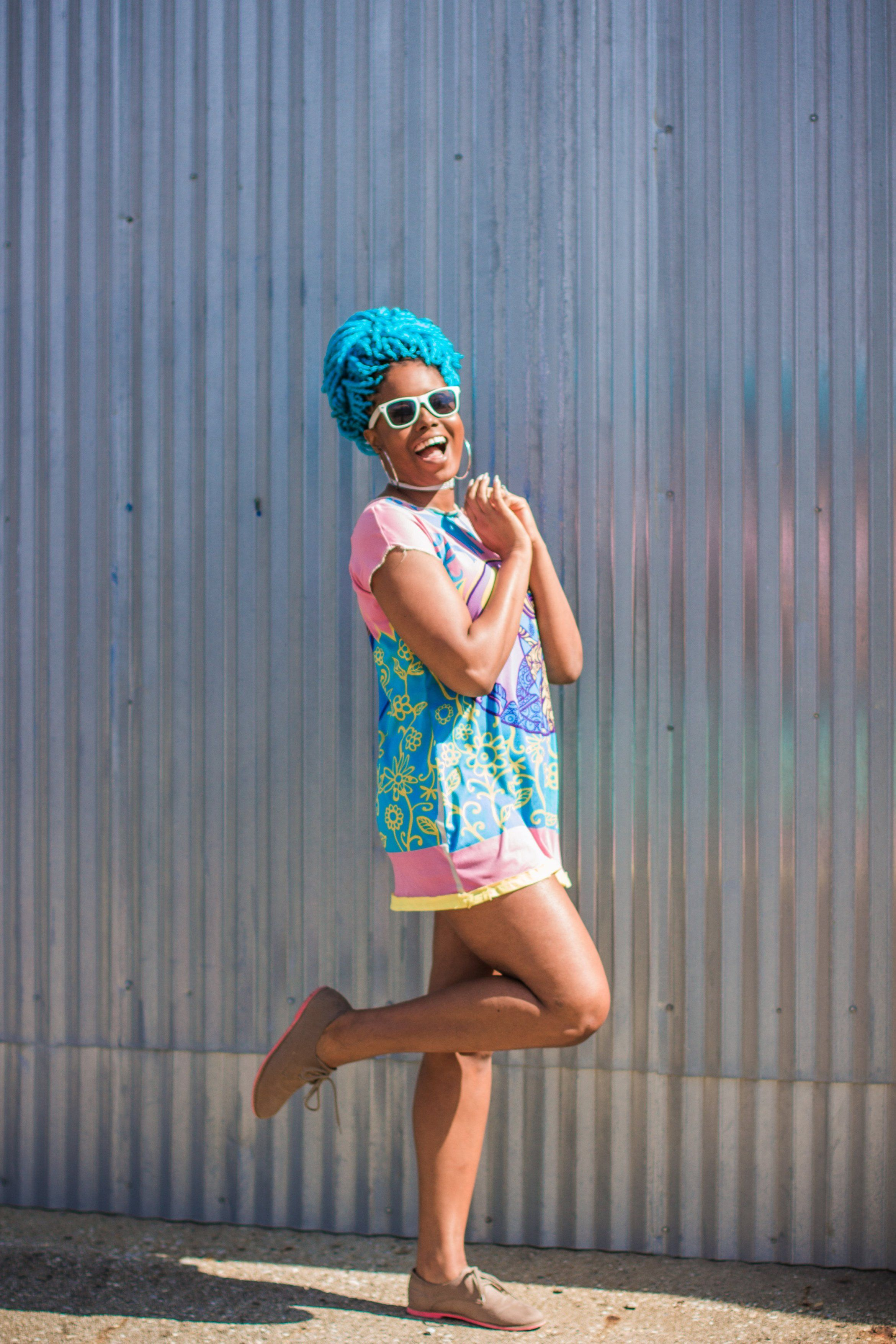 First Day of Spring Outfit | Mesh Dress Style | Colorful and Bold Dress | Black Girl In Colorful Hair