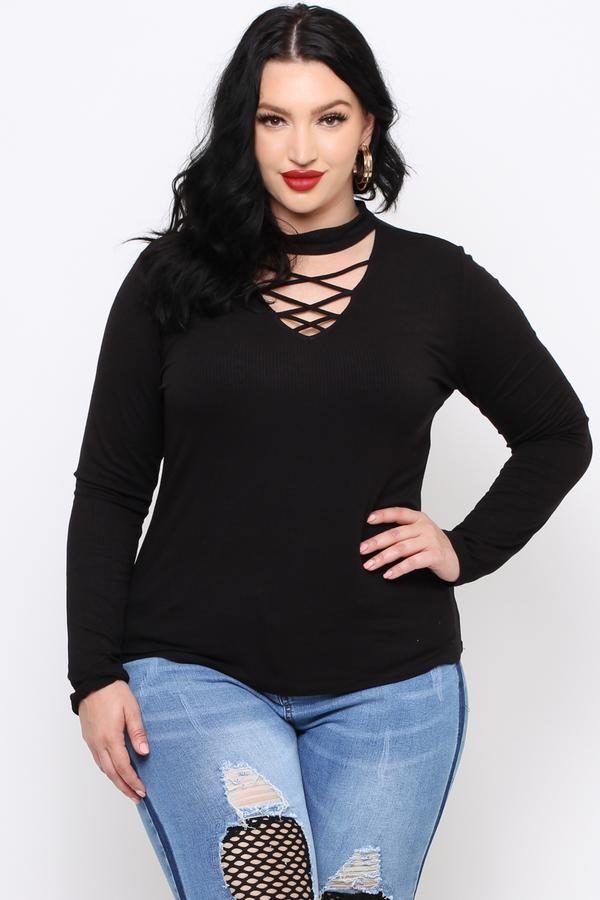 8e9c89420d8298 Plus Size Ribbed V-Neck Choker Top - Black | Fashion in 2019 | Neck ...