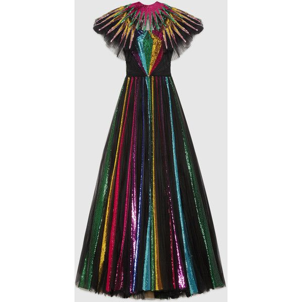 87c2709519214 Gucci Embroidered Sequin Tulle Gown ($29,000) ❤ liked on Polyvore featuring  dresses, gowns, gown, evening gown, black, tulle dress, sequin gown, tulle  gown ...