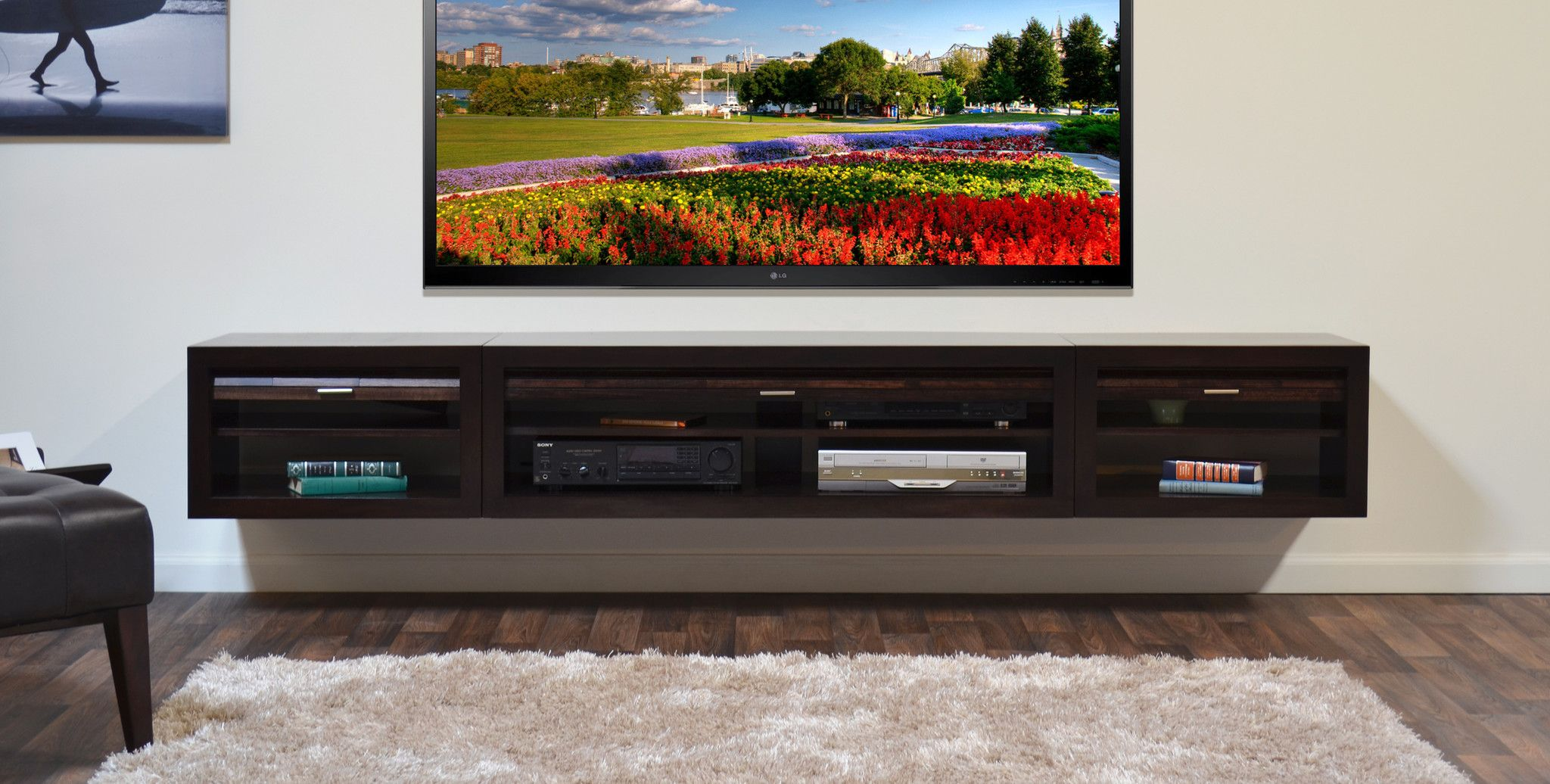 Resemblance Of Floating Media Center Stylish And Space Saving  # Meubles Pose Television