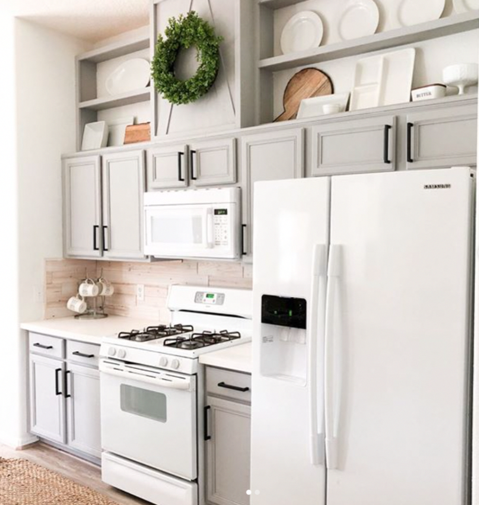 How To Add Box And Molding Or Shelves To That Annoying Gap Above Builder Grade Cabinets Ask Old Kitchen Cabinets Above Kitchen Cabinets Upper Kitchen Cabinets