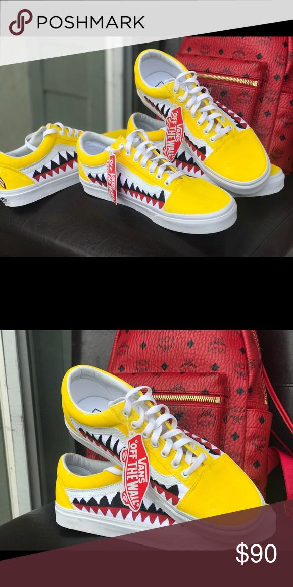 Yellow custom bape vans Very