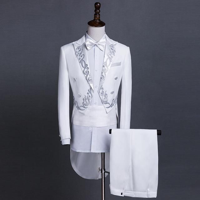 New MEN Gold Silver Embroidery Lapel Tail Coat Stage Groom Black ...