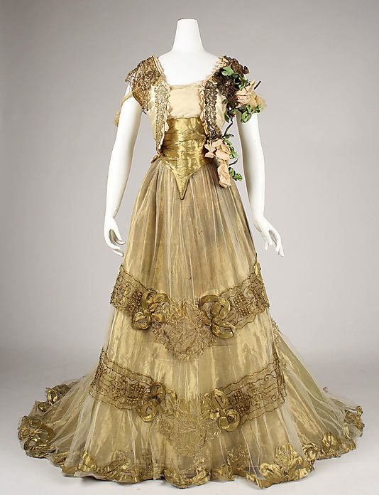 Ball gown Driscoll Date: ca. 1900 Culture: American Medium: silk, metallic thread, glass Dimensions: [no dimensions available] Credit Line: Gift of Alice Roosevelt Longworth, 1976 Accession Number: 1976.134.14a, b