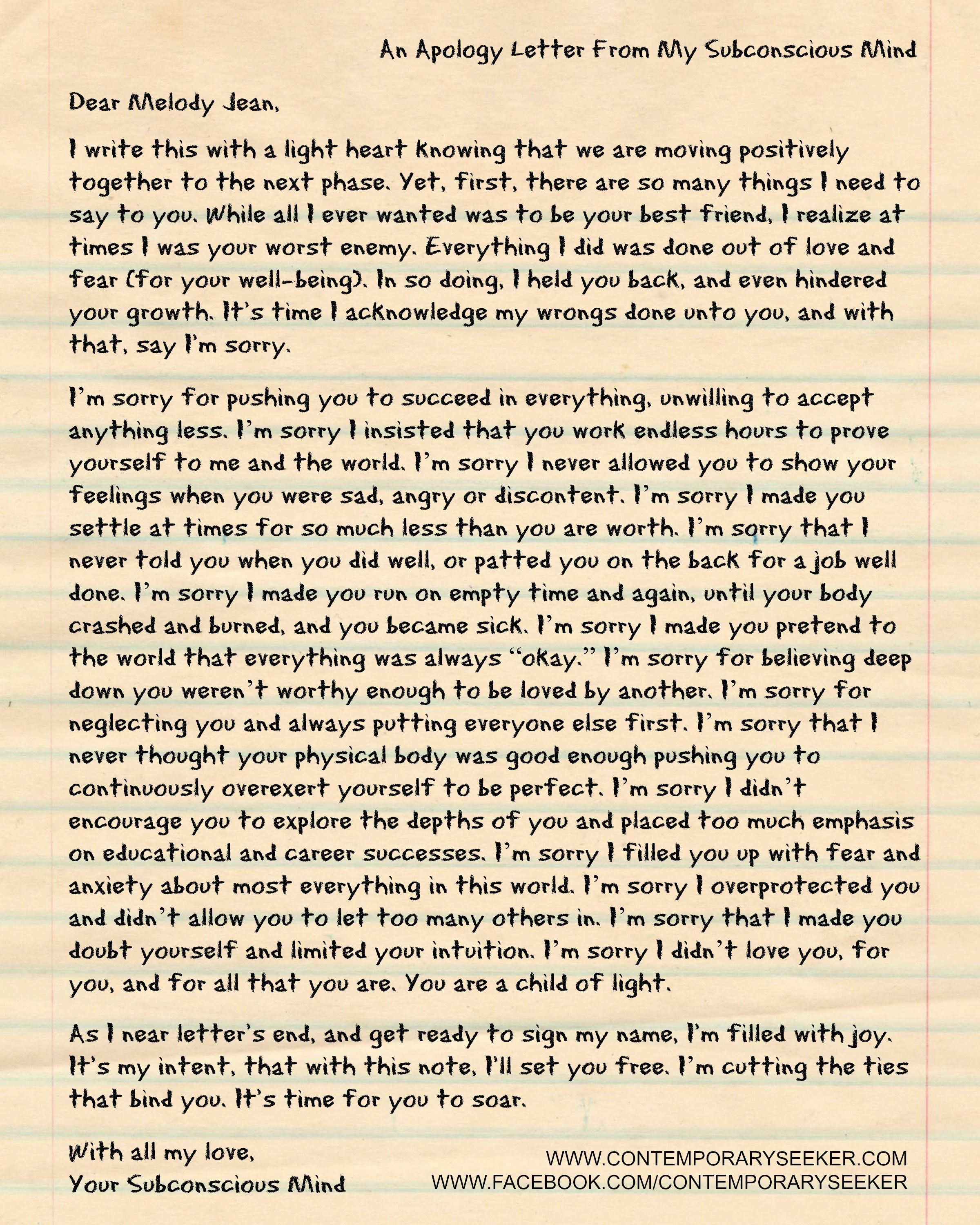 An Apology Letter From My Subconscious Mind Contemporary Seeker