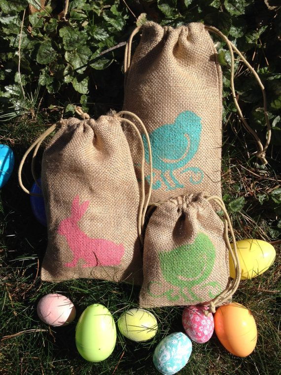 Set of 2 6x10 Burlap Easter Favor Bags by 2happygrlzdesign on Etsy, $3.99