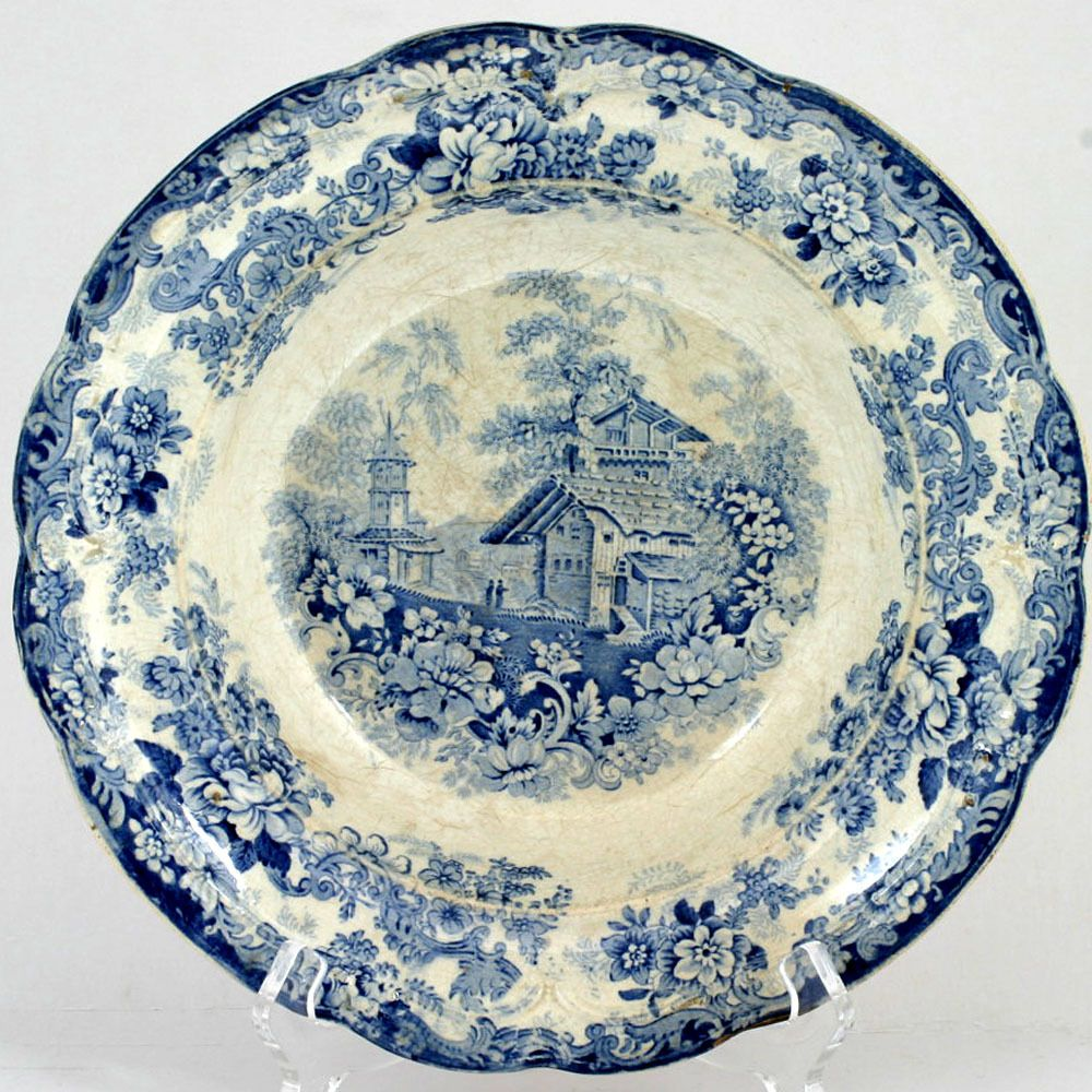Blue and white pottery - Genevese Opaque China Blue White Pottery Bowl Charles Meigh Antique 1835