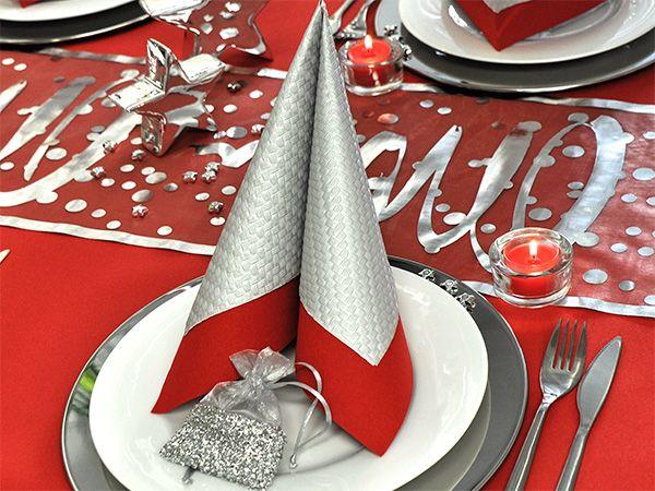 elegnate serviette rot silber servietten pinterest weihnachten rot servietten und. Black Bedroom Furniture Sets. Home Design Ideas