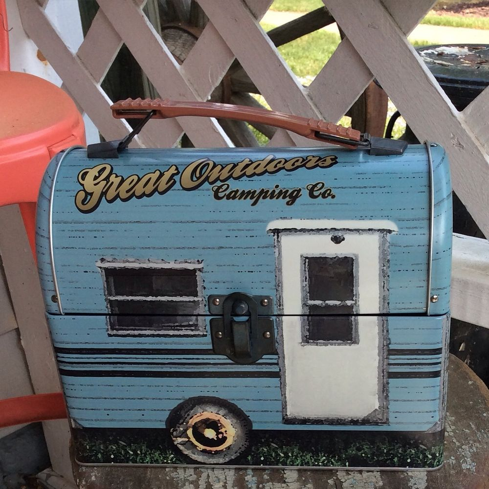 Camper Vintage Look Lunch Box Great Storage Container Camping