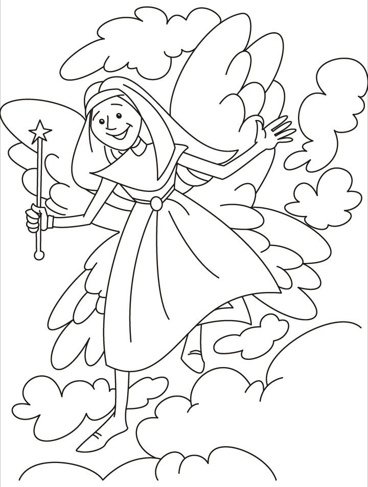 Fairy inviting you to the fairyland coloring pages | kleurplaten die ...