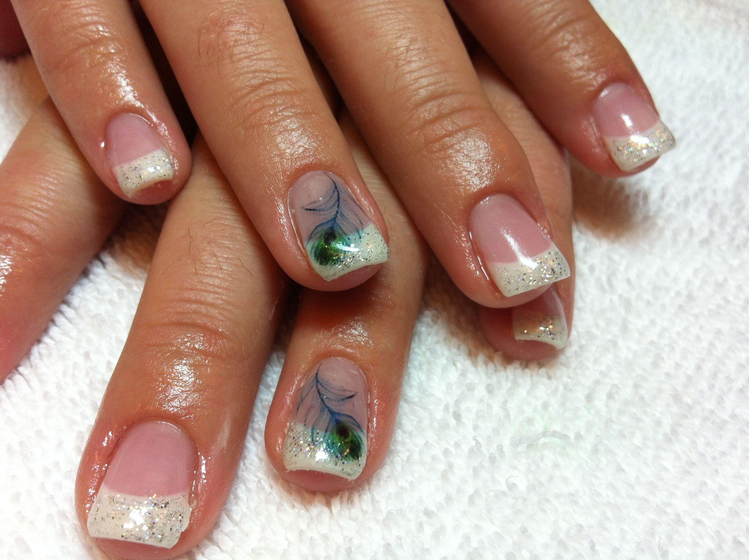 peacock bling | peacock nail designs, glitter nail designs and