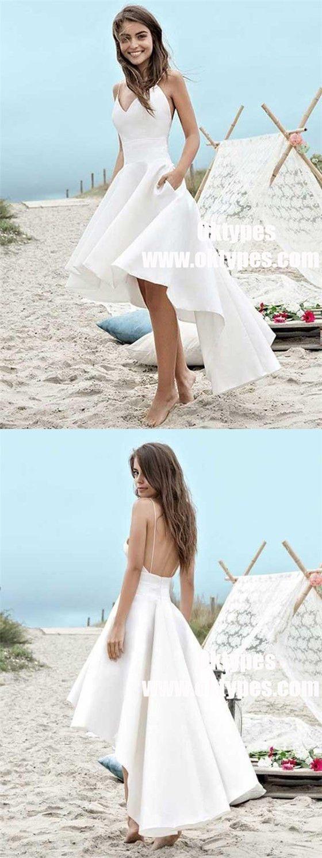 High low spaghetti straps backless satin beach wedding dress with