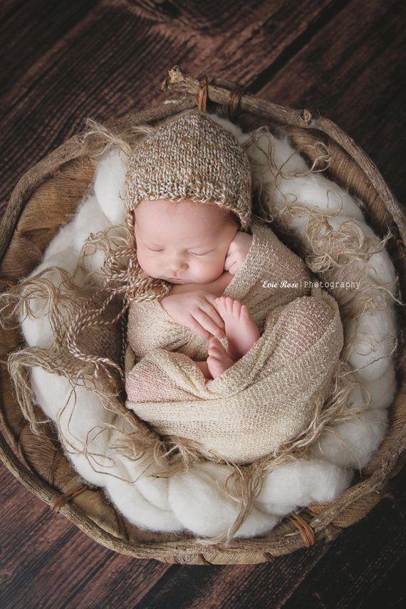 91cf5ec5c100 Newborn Knit Baby Bonnet - Newborn Knit Photo Prop - Newborn Photo ...