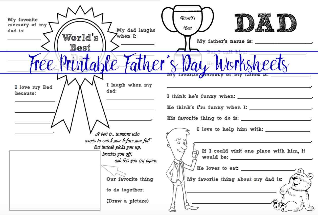 Free Printable Father S Day Coloring Worksheets 2 Designs