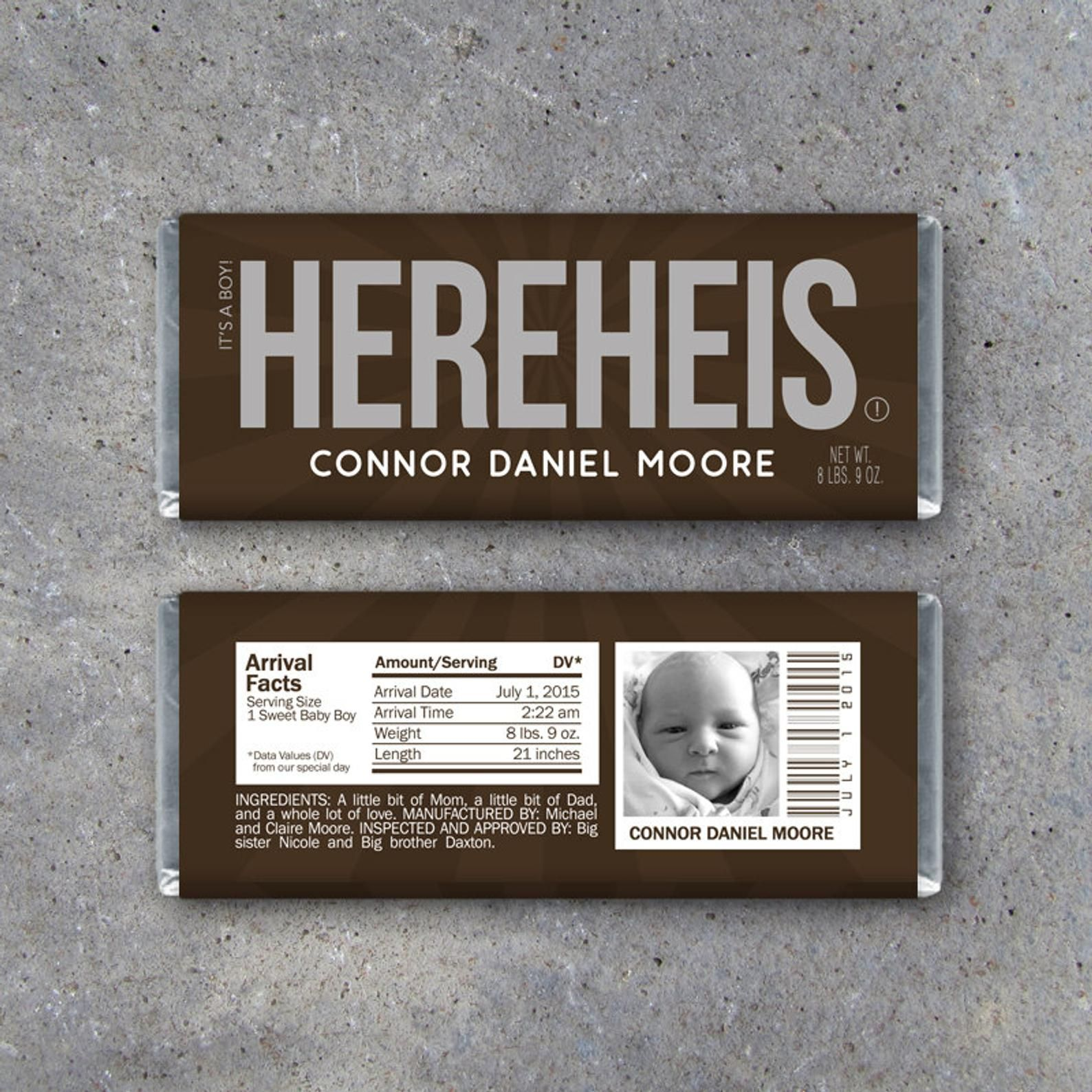 Personalized Birth Announcement Candy Bar Wrappers
