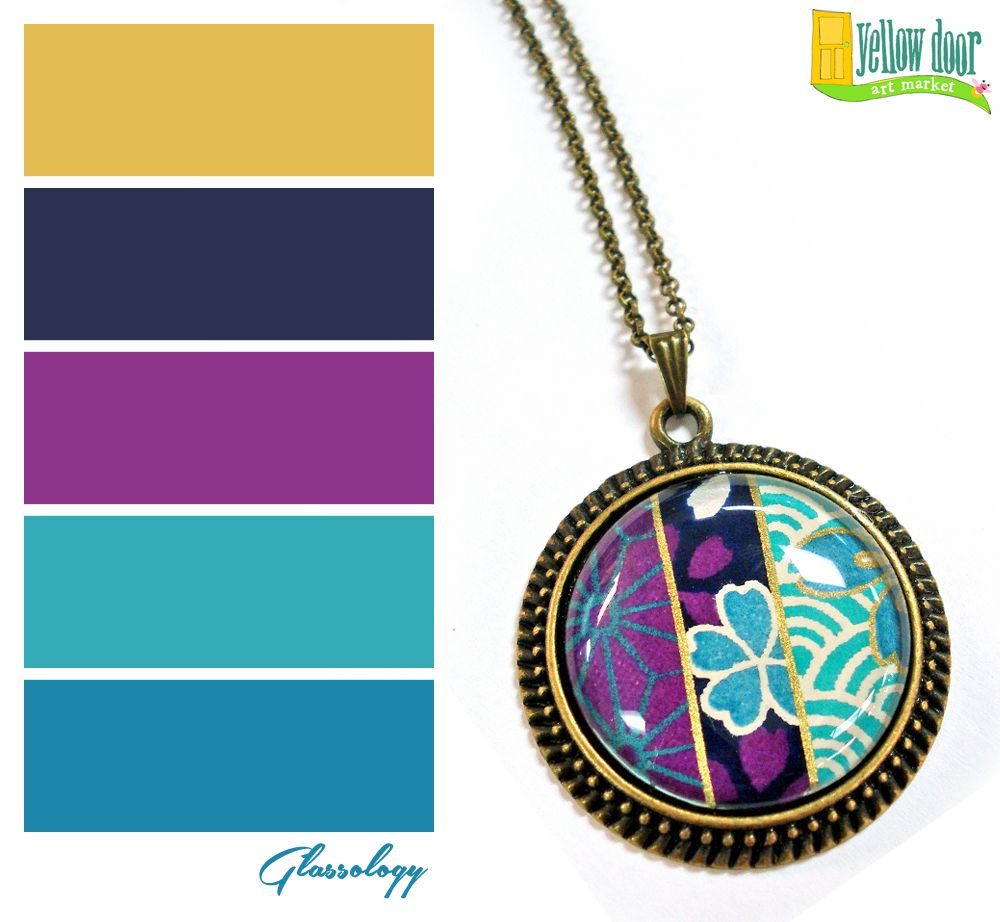 Fine paper and glass pendant by rachel pitt of glassology - Jewel tones color palette ...