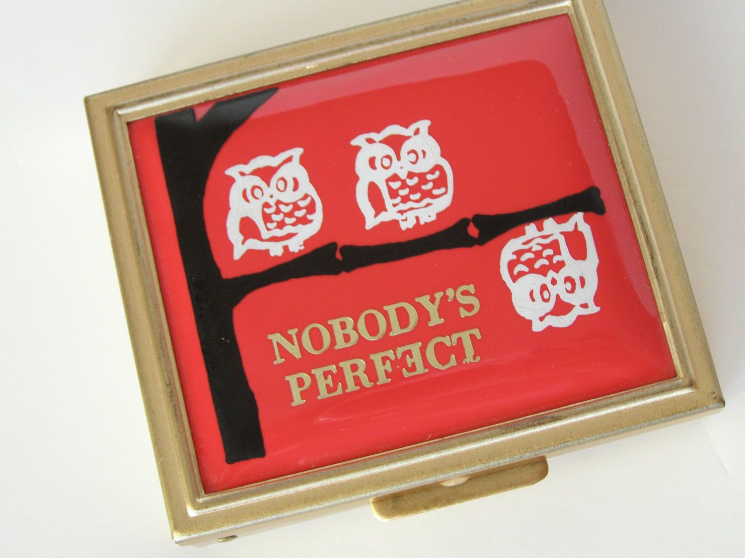 Vintage Owl Pill Box Nobody's Perfect. $10.99, via Etsy.