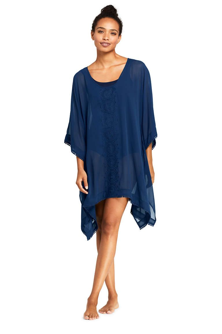 c2a0656c73 Women's Embroidered Woven Dolman Kaftan Swim Cover-up from Lands' End