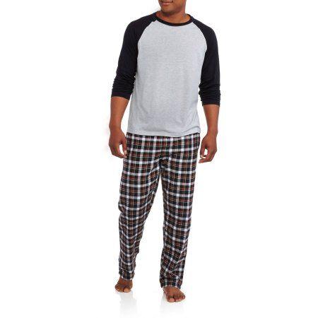 Hanes Big Men's Long Sleeve Jersey Crew & Flannel Pant Sleep Set, Size: 2XL, Beige