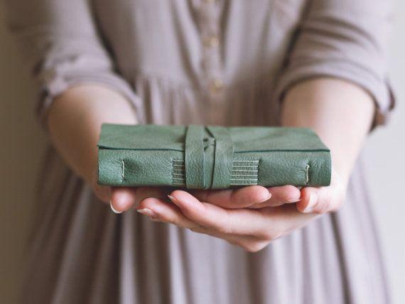 Leather Book  Sage Green  Handbound Leather door JackdawBindery
