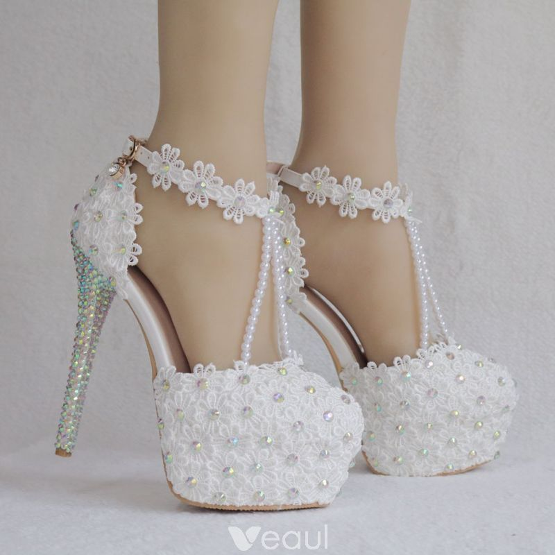 fc70930f803 Elegant White Wedding Shoes 2018 Lace Flower Ankle Strap Pearl ...