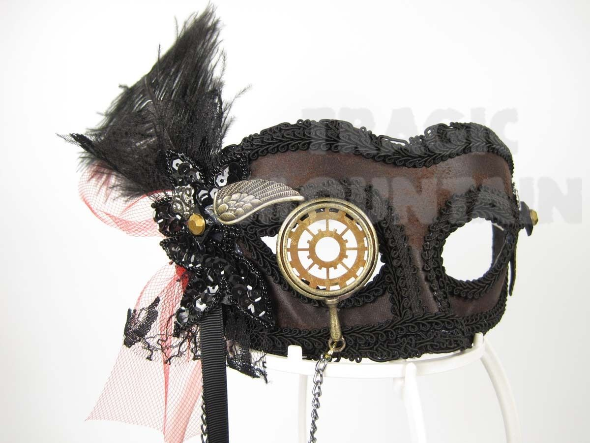 Adult Victorian Steampunk Monocle Venetian Masquerade Brown Suede Costume Mask