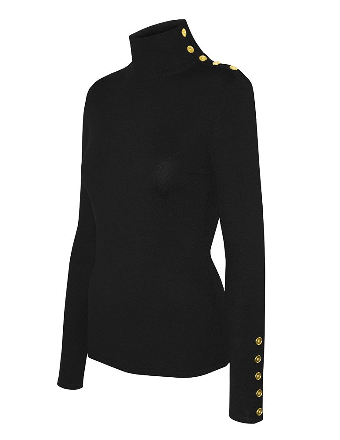 ☆ Mock Neck Sweater (in Black with Gold Buttons) ☆  3efcc935e