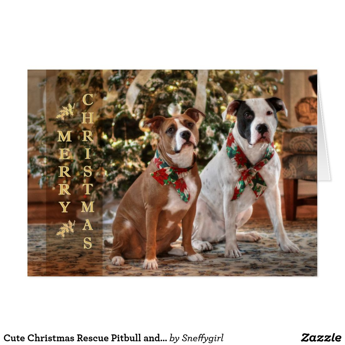 Cute Christmas Rescue Pitbull and America Bull Dog Holiday Card ...