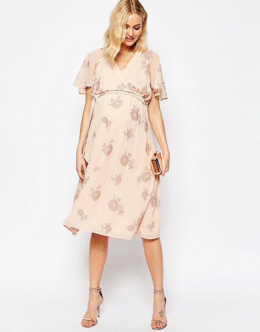 4b3b534a0b Image 4 of ASOS Maternity Flutter Sleeve Midi Dress With Pretty Lurex Floral