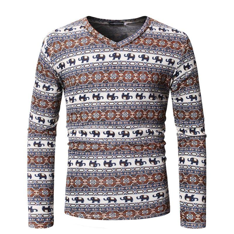 4777d8300f5d MarKyi fashion pattern t-shirt men funny 2019 spring new v-neck hip hop t  shirt homme slim fit top tees