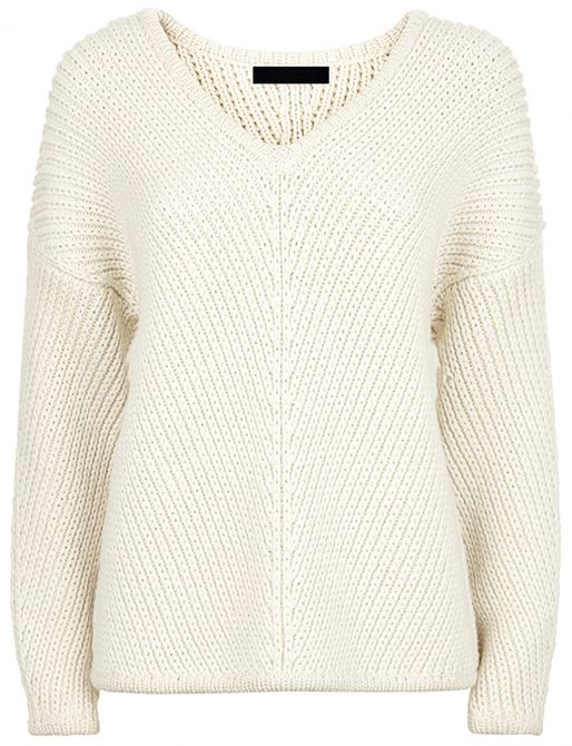 Buy Jaeger Chevron Ribbed Sweater, Ivory, M from our Women's Knitwear range  at John Lewis.