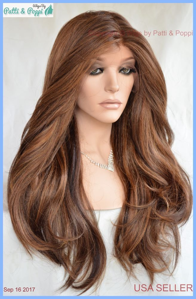 Swiss Lace Front Wig 4X4 Silk Top Handtied Heat Safe P4.27.30 Long ...