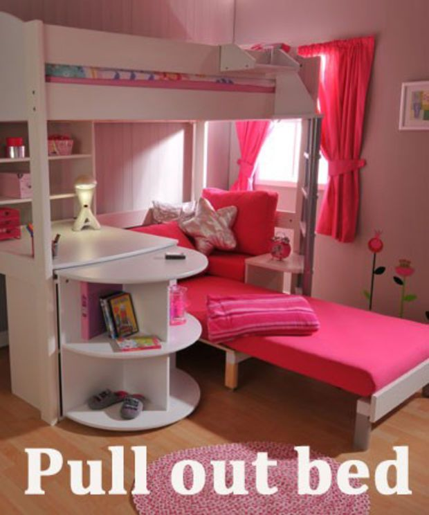 BunkBeds2U High Sleeper Bed with Desk and Sofa Bed lily