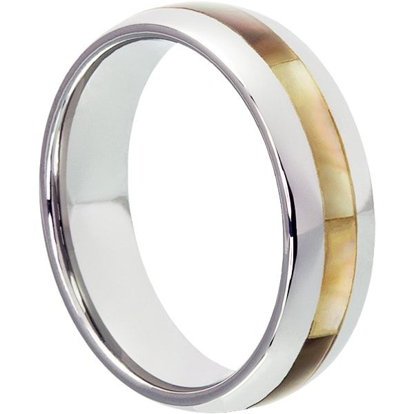Chivalry 7mm Mens Wedding Ring With Ivory And Black Inlay The Shell Is Genuine