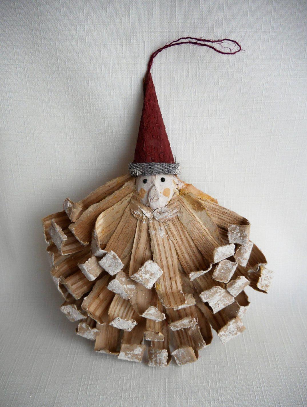 Unique Santa Claus Folk Art Ornament with Curled Palm Fronds, Pod Base, Paper Mache Hat, Unusual Primitive Tree Trim by CactusWrenVintage on Etsy
