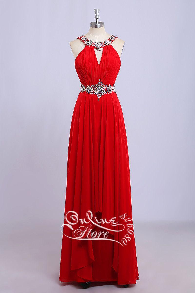 Click to buy ucuc vestido de fiesta chiffon red prom dresses real