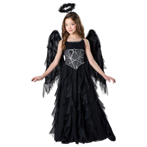 Girls Child Deluxe Black /& White Bride Of Darkness Gothic Gown Dress Costume