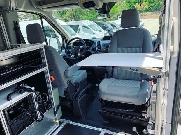 Swivel Seat With Modular Lagun Pivot Table In Vandoit Camper Van Built On The Ford Transit 350 Xlt In 2020 Ford Transit Custom Vans Used Vans
