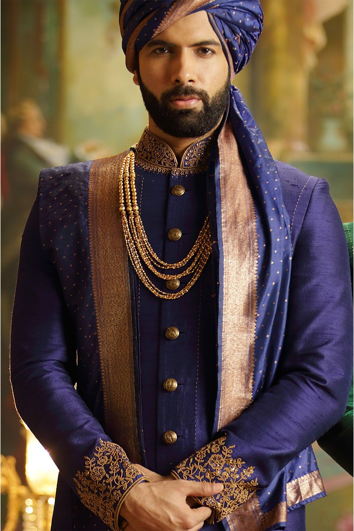 Buy blue wedding sherwani online from