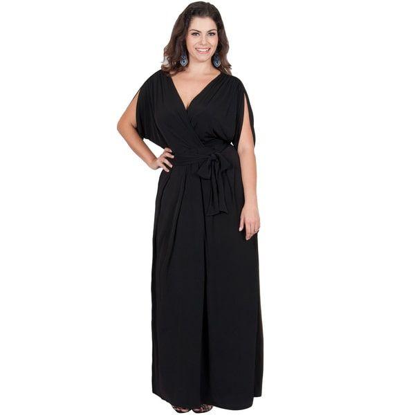Koh Koh Women's Plus Size Batwing Tie Around Maxi Dress