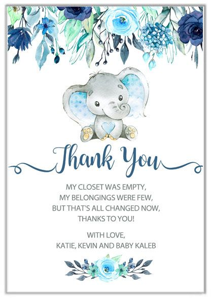 Elephant Boy Baby Shower Thank You Cards Elephant Baby Shower Boy Elephant Baby Shower Invitations Baby Shower Cards
