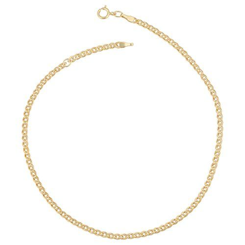 10k Yellow Gold 235mm Link Chain Adjustable Anklet 9 To 10 Inch Read More Reviews Of The Product By Visiting Chain Anklet Gold Anklet Western Fashion Jewelry