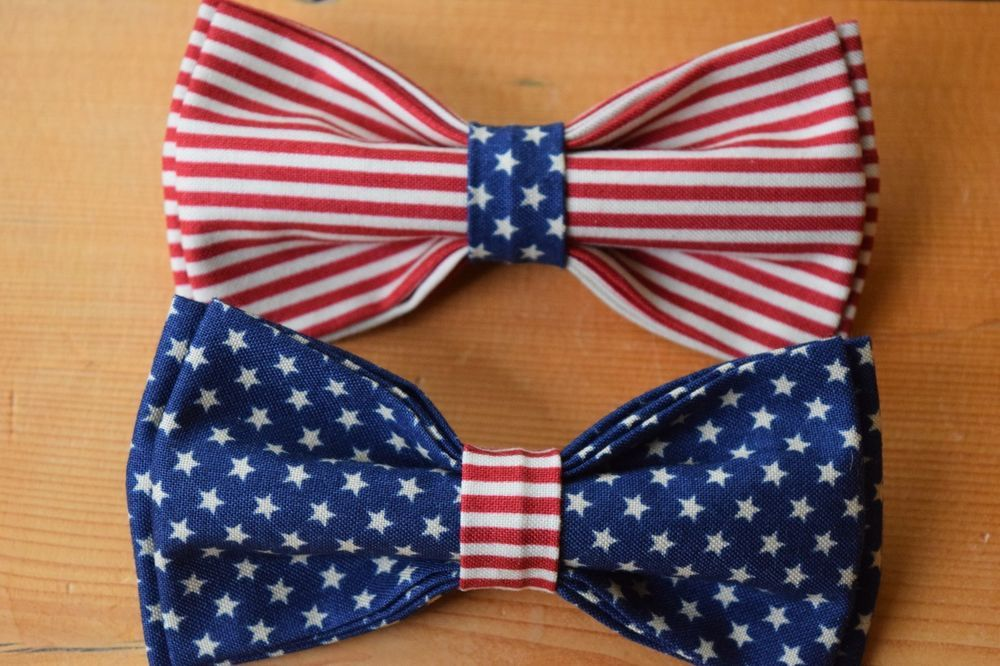 American Flag Pre Tied Bow Tie New Made In Usa Patriotic Ties Mens Fashion Flag Bow Tie Skinny Ties Men